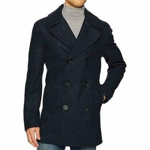Hawke & Co Men's Murren Melton Pea coat BLACK
